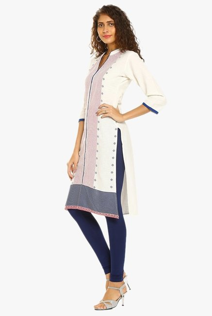 Soch White Printed Cotton Kurta
