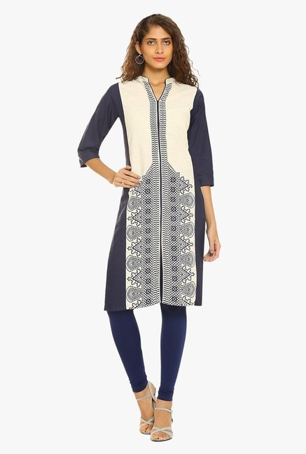 Soch Navy & Off White Printed Cotton Kurta