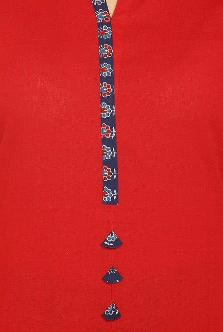 Soch Red Cotton Kurti