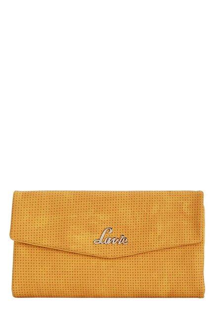 Lavie Roma Ochre Textured Tri-Fold Wallet