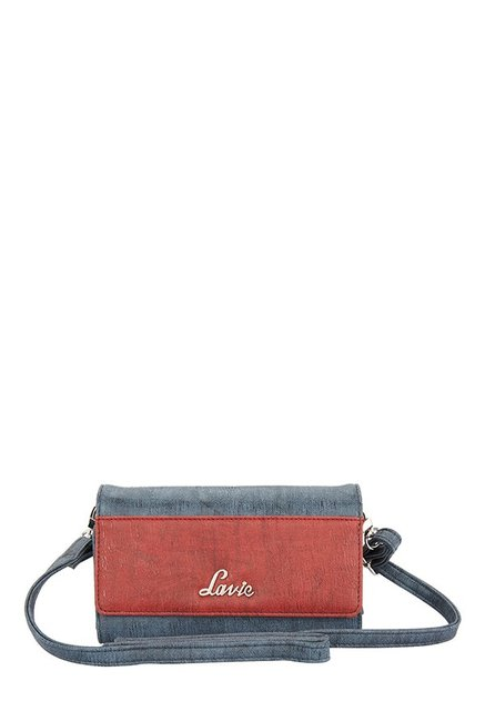 Lavie Roma Navy & Red Distressed Tri-Fold Wallet