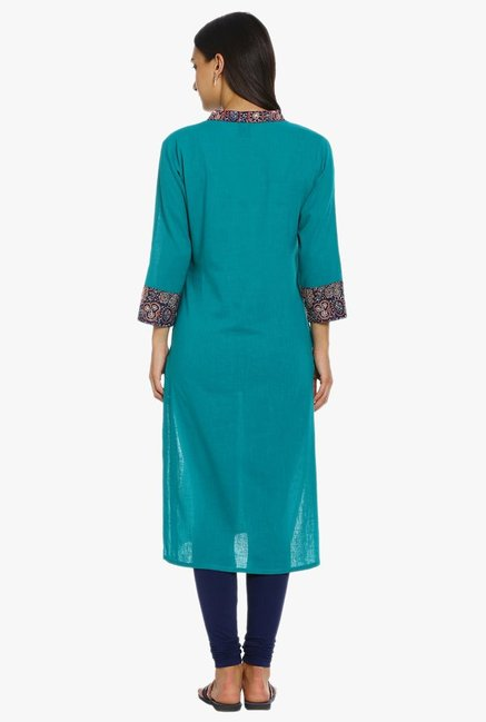 Soch Green Textured Cotton Kurta
