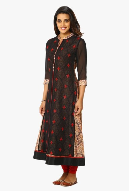 Soch Black Embroidered Georgette Kurta