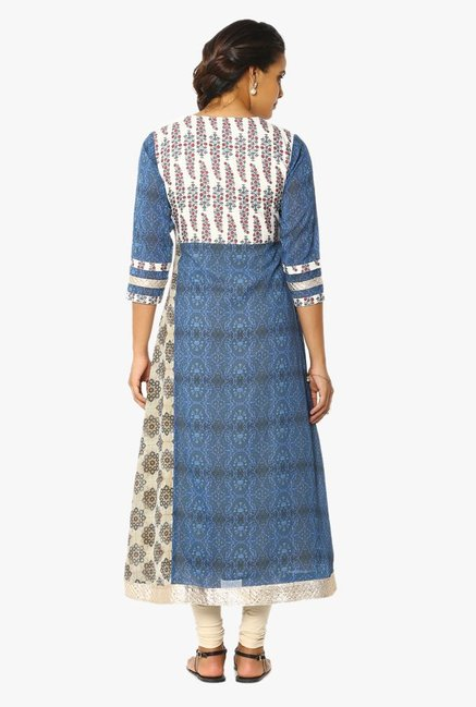 Soch Off White & Blue Printed Georgette Kurta