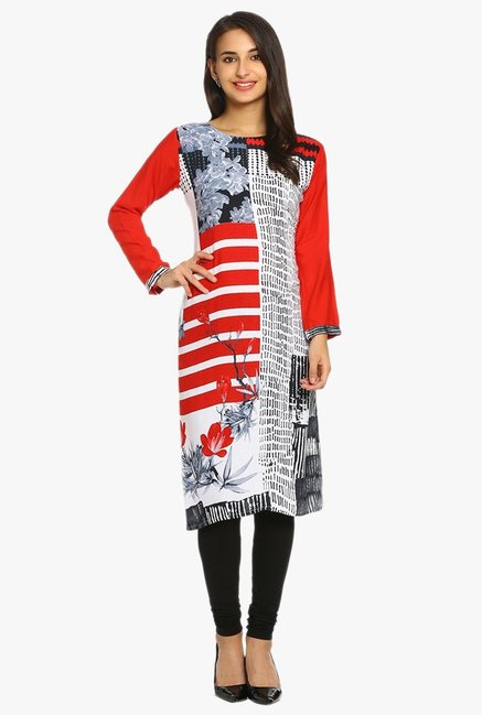 Soch Red & White Printed Rayon Kurta