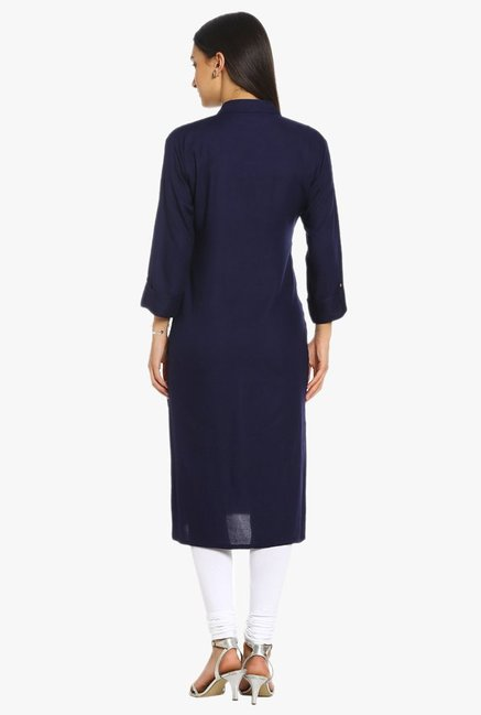 Soch Navy Regular Fit Cotton Kurta