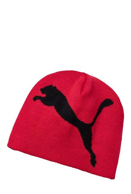 the latest 00ab5 4ae19 Buy Puma ESS Big Cat Toreador Red Solid Cotton Beanie Online At Best Price    Tata CLiQ