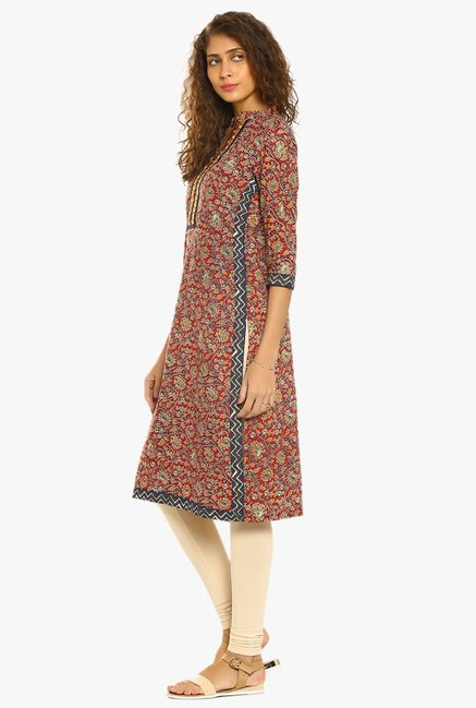 Soch Maroon Printed Cotton Kurta