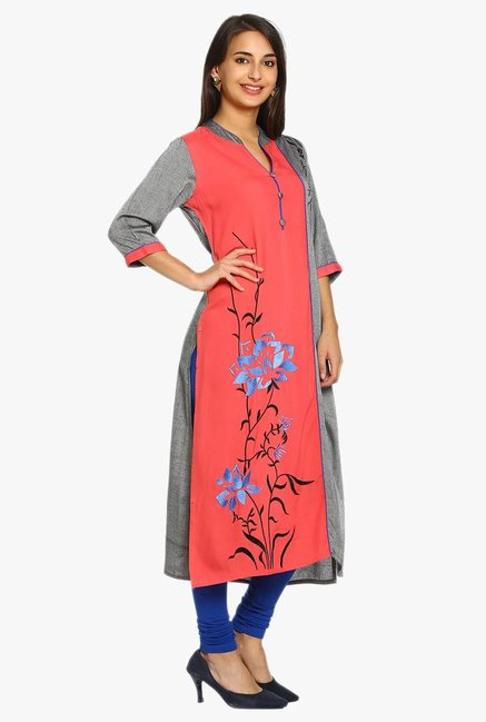 Soch Coral & Grey Embroidered Cotton Kurta