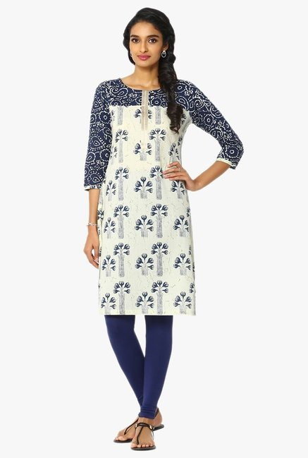 Soch Cream & Navy Printed Cotton Kurta