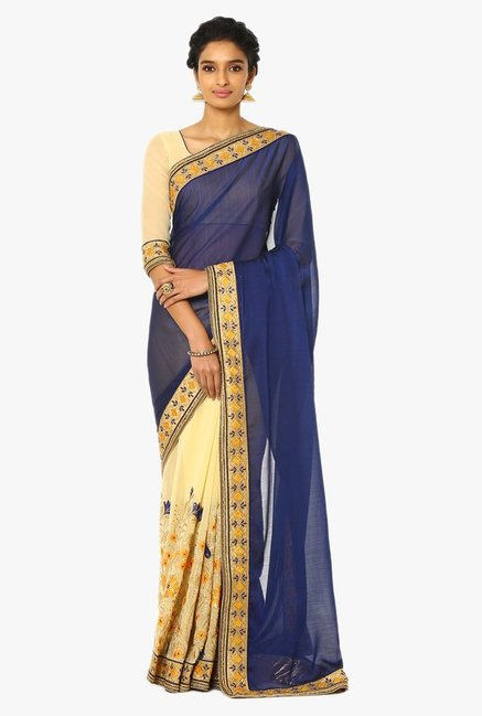 Soch Beige & Navy Half & Half Embroidered Georgette Saree