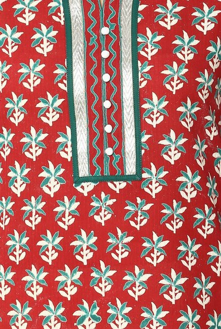 Soch Red Floral Print Cotton Kurta