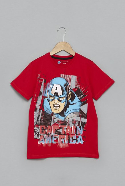 c361a0350 Buy Y&F by Westside Red Captain America T-Shirt for Boys Clothing Online @  Tata CLiQ