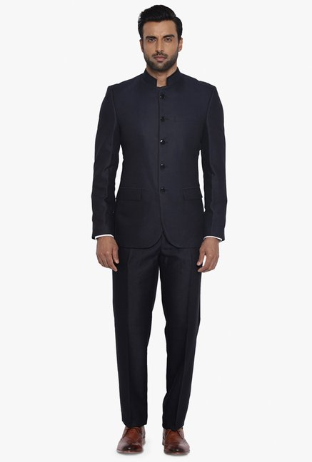 e6792fb104a96 Buy Raymond Navy Contemporary Fit Suit for Men Online @ Tata CLiQ