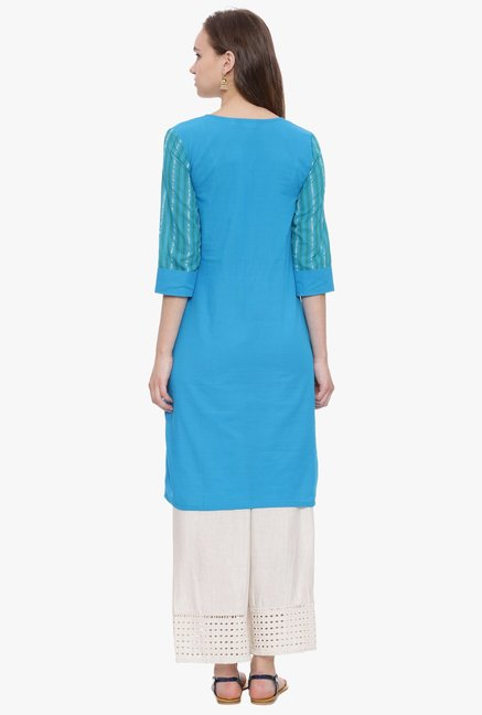 Avaana Turquoise Striped South Cotton Kurta