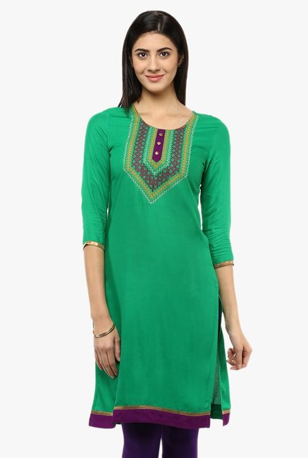 Avaana Green Embroidered Rayon Kurta