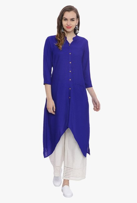 Avaana Royal Blue Mandarin Collar Rayon Kurta