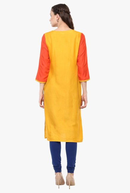 Avaana Orange Printed Rayon Kurta