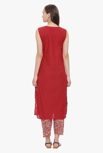 Avaana Red Printed Cambric Kurta