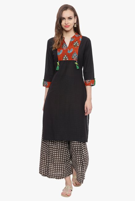 Avaana Black Printed Cambric Cotton Kurta