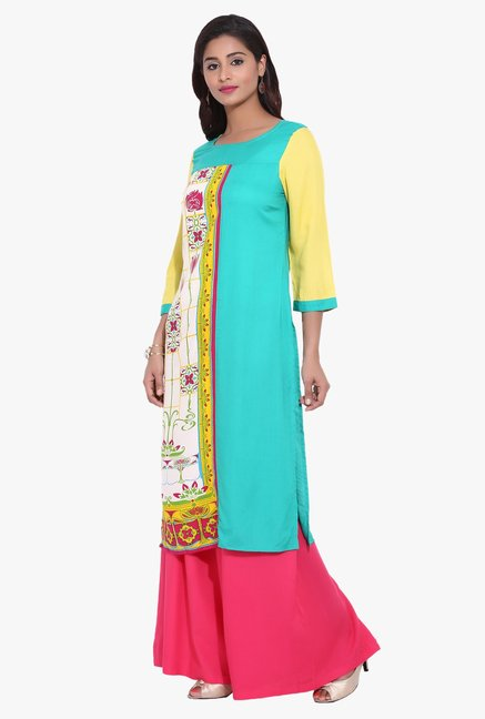 Avaana Teal & Yellow Printed Rayon Kurta