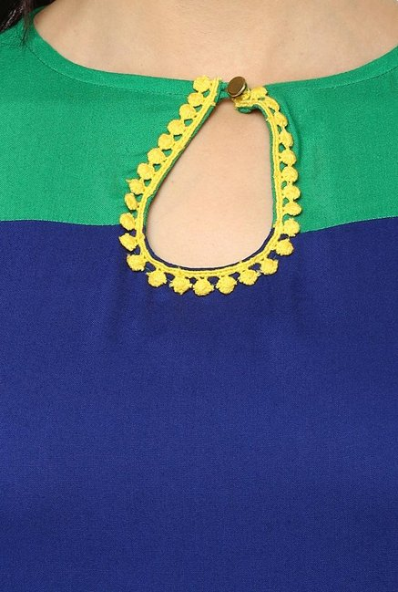 Avaana Royal Blue Round Neck Rayon Kurta