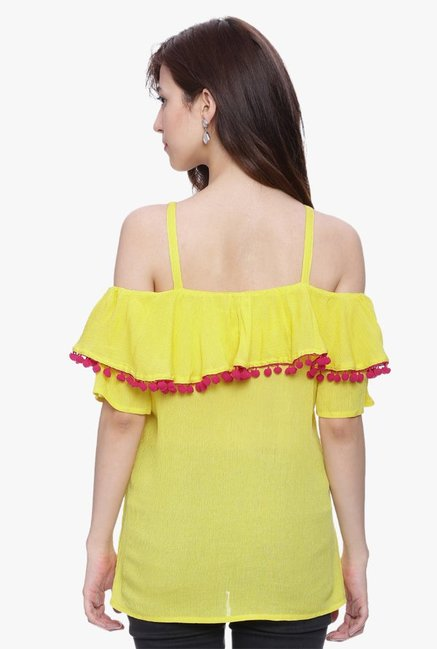 Avaana Yellow Square Neck Rayon Crepe Kurti