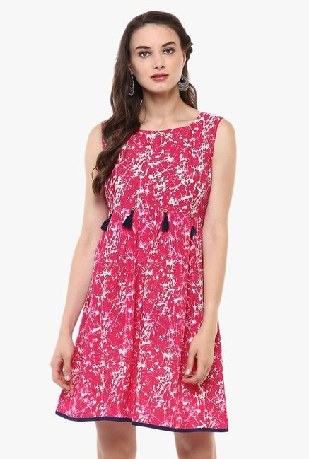 Evam Pink Printed Cotton Cambric Kurti