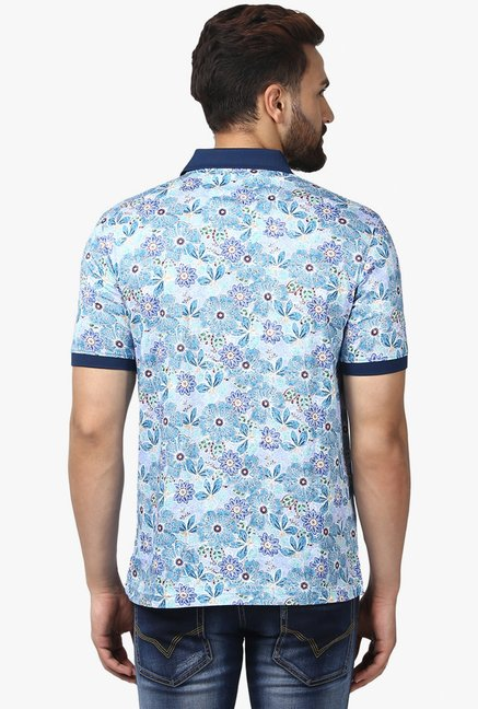 Raymond Blue Half Sleeves Printed T-Shirt