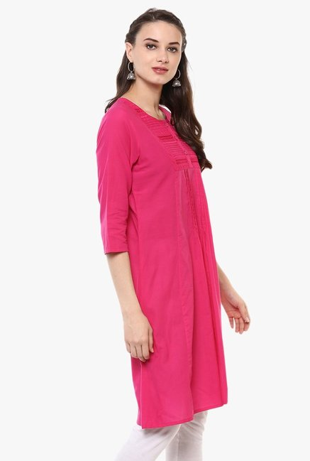 Evam Pink Embroidered Cotton Cambric Kurta