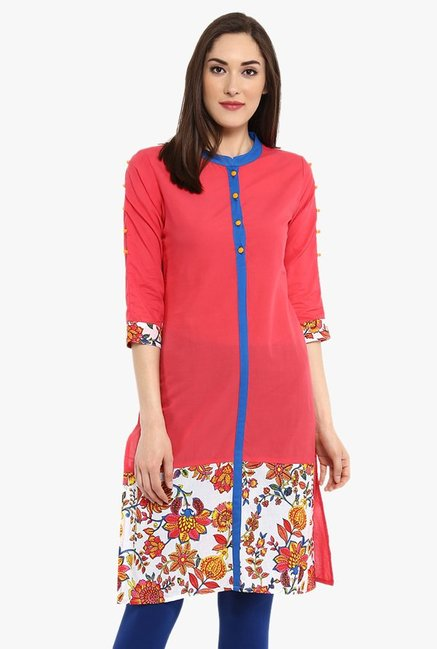 Avaana Coral Printed Cotton Cambric Kurta