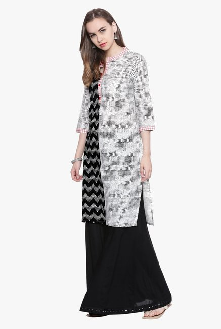 Avaana Grey & Black Printed Cambric Kurta