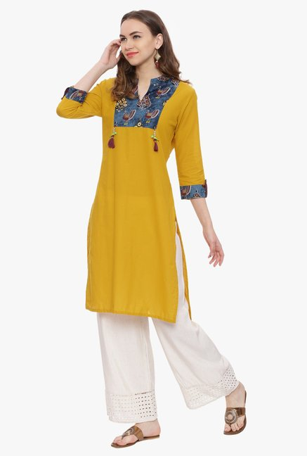 Avaana Mustard Printed Cambric Cotton Kurta