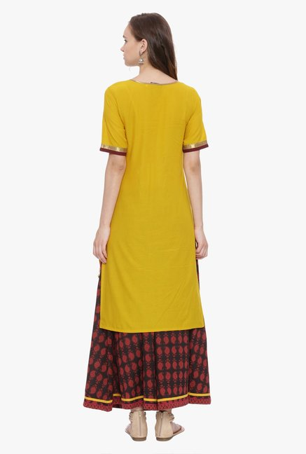Avaana Mustard & Teal Printed Cambric Cotton Kurta