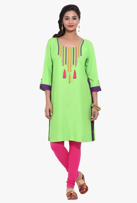 Avaana Lime Embroidered Rayon Kurta