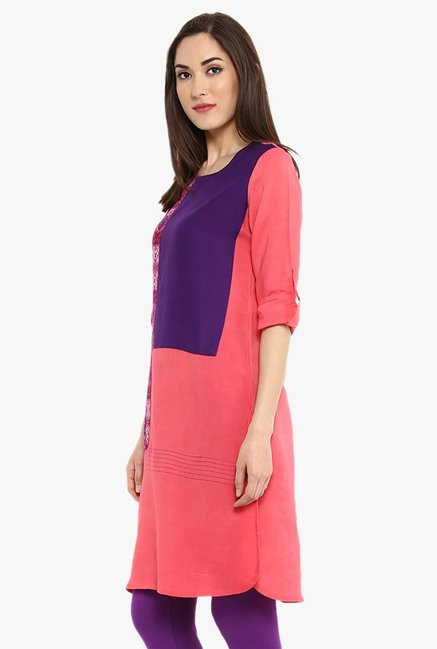 Avaana Peach & Purple Printed Rayon Kurta