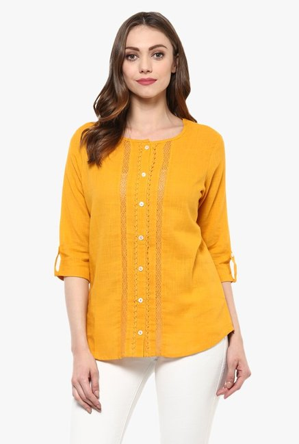 Avaana Yellow Solid Cotton Slub Kurti
