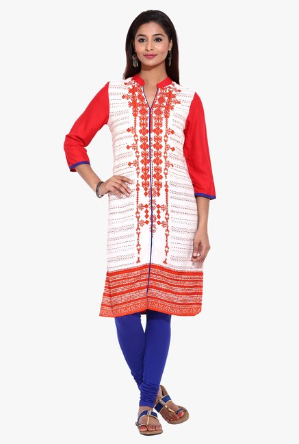 Evam Orange & White Printed Rayon Kurta