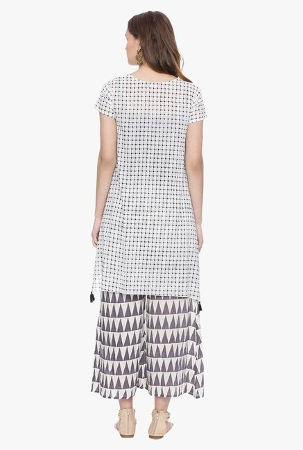 Avaana Grey Printed Voile Cotton Kurti