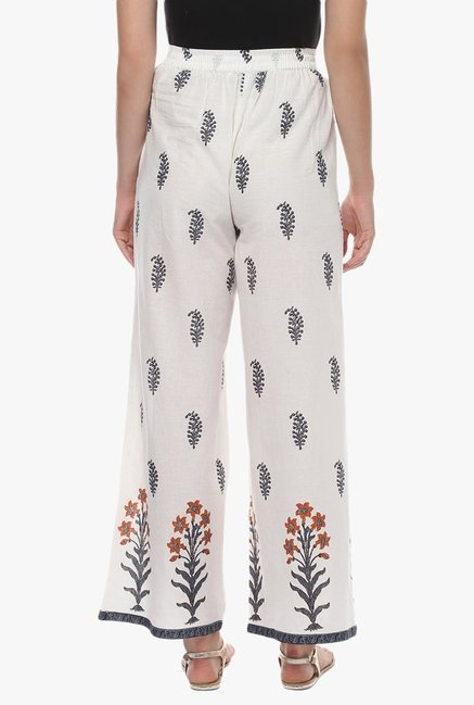 Avaana Off White Printed Cotton Palazzo