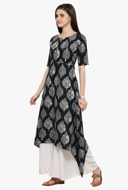 Ahalyaa Black Printed Cotton A-line Kurta