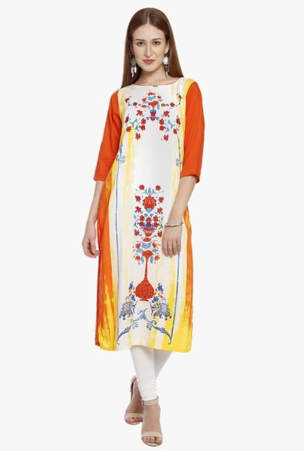 Aurelia Orange & White Printed Viscose Kurta