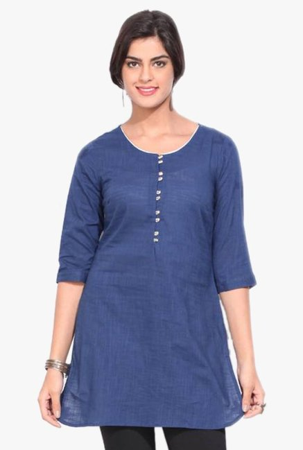 Aurelia Navy Round Neck Cotton Kurti