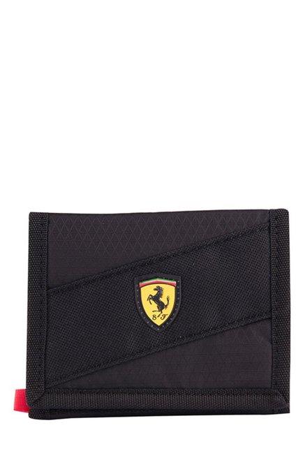 b6e8eaa9c8e0 Buy Puma Ferrari Fanwear Black Textured Nylon Tri-Fold Wallet Online At  Best Price   Tata CLiQ