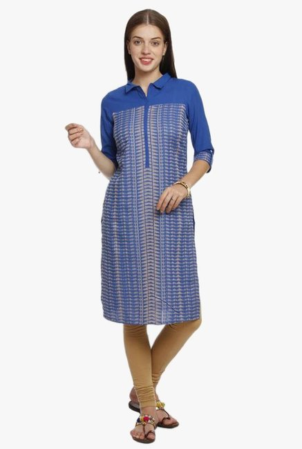 Aurelia Dark Blue Printed Cotton Kurta