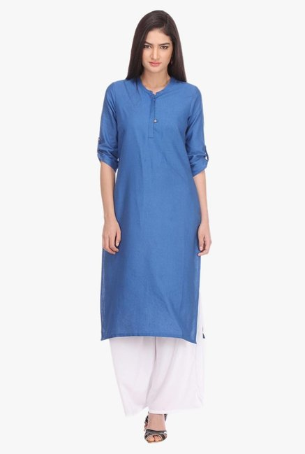 Aurelia Blue Band Neck Cotton Kurta