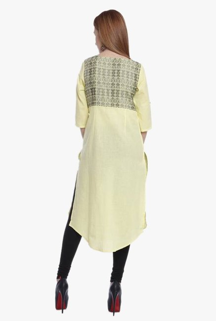 Aurelia Yellow Printed Cotton Kurta