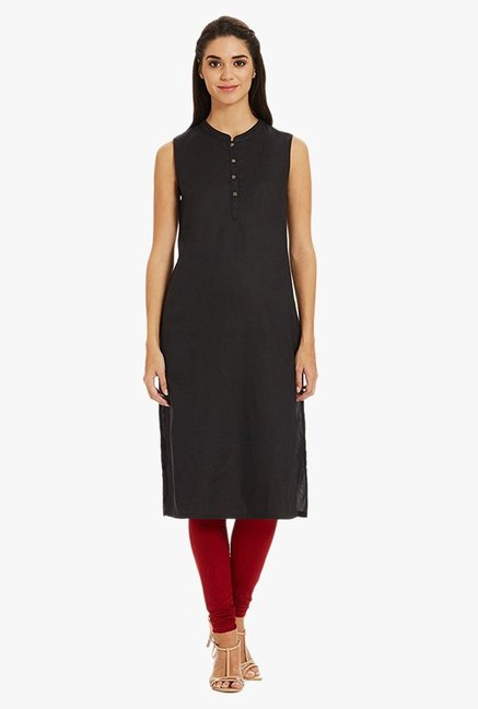 Aurelia Black Band Neck Cotton Kurta