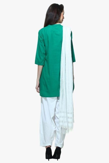 Aurelia Green Band Neck Cotton Kurti