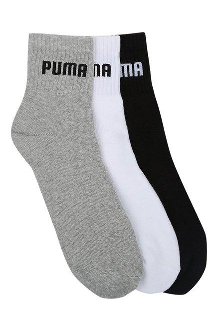 Puma White   Grey Solid Quarter Length Socks   Pack of 3
